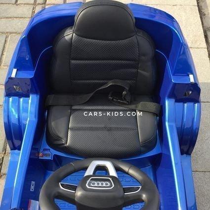 Электромобиль Audi Q7 S-line синий (колеса резина, сиденье кожа, пульт, музыка)